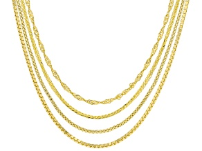 """18K Yellow Gold Over Sterling Silver Set of 4 24"""" Box, Singapore, Popcorn, And Wheat Chains"""