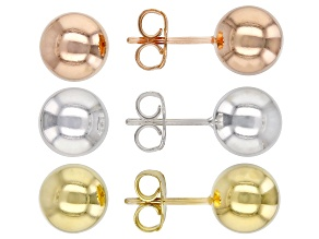 Sterling Silver, 18K Yellow Gold And Rose Gold Over Sterling Silver Bead Stud Earrings Set of 3