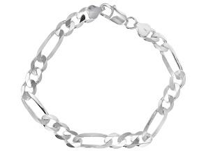 Sterling Silver 8MM Figaro 8.5 Inch Bracelet