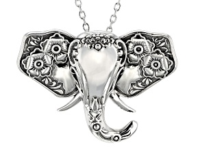 Sterling Silver Oxidized Floral Design Elephant Head Slide Pendant with 18 Inch Cable Chain