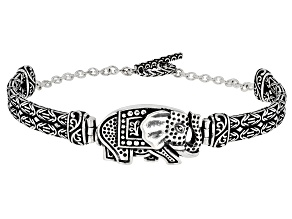 Sterling Silver Oxidized Elephant 7.5 Inch Bracelet