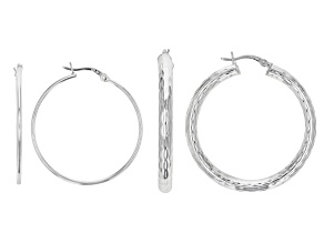 Sterling Silver Set of 2 35MM and 45MM Hoop Earrings