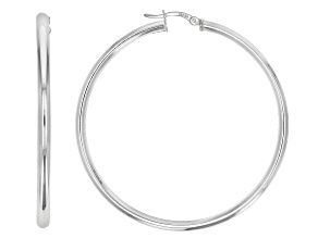 Sterling Silver 3x55MM Tube Hoop Earrings