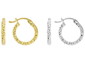 Sterling Silver and 14K Yellow Gold Over Sterling Silver Set of 2 Hoop Earrings
