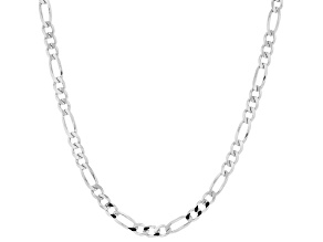 Sterling Silver 4.40MM Flat Figaro Chain 24 Inch Necklace