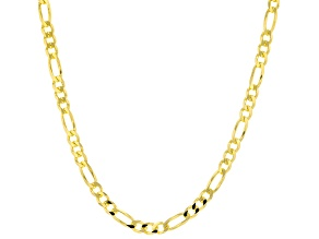 18K Yellow Gold Over Sterling Silver 4.40MM Flat Figaro Chain 24 Inch Necklace