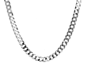 Sterling Silver Diamond-Cut 10.6MM Curb Chain 24 Inch Necklace