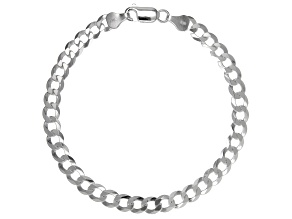 Sterling Silver Diamond-Cut 6MM Flat Curb Link 8.25 Inch Bracelet