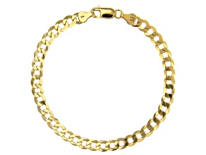 18K Yellow Gold Sterling Silver Diamond-Cut 6MM Flat Curb Link 8.25 Inch Bracelet
