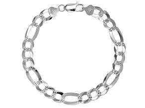Sterling Silver Diamond-Cut 8.8MM Figaro Link 8.5 Inch Bracelet