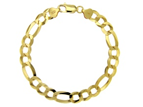 18K Gold Over Sterling Silver Diamond-Cut 8.8MM Figaro Link 8.5 Inch Bracelet