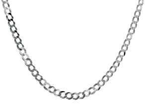 Sterling Silver Diamond-Cut 6MM Flat Curb Chain 22 Inch Necklace