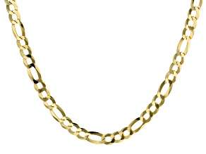 18K Yellow Gold Over Sterling Silver Diamond-Cut 8.8MM Figaro 20 Inch Necklace