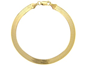 18K Yellow Gold Over Sterling Silver 5.5MM Herringbone Link 7.25 Inch Bracelet