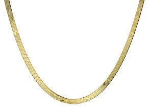 18K Yellow Gold Over Sterling Silver 5.5MM Herringbone Chain