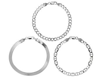 Picture of Sterling Silver Set of 3 Flat Curb, Mariner, and Herringbone Link Bracelets