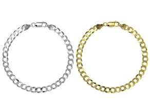 Sterling Silver and 18K Yellow Gold Over Sterling Silver Set of 2 Diamond-Cut Flat Curb Bracelets