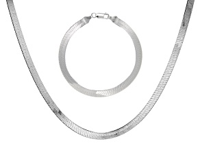 Sterling Silver Set of 2 Herringbone 7.25 Inch Bracelet and 18 Inch Necklace