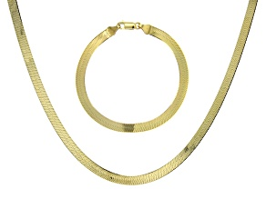18K Yellow Gold Over Sterling Silver Set of 2 Herringbone 7.25 Inch Bracelet and 18 Inch Necklace