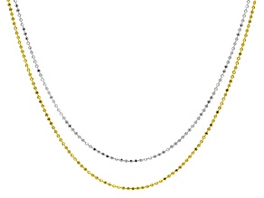 Rhodium Over Sterling Silver and 18K Yellow Gold Over Sterling Diamond-Cut Beaded 24 Inch Necklaces