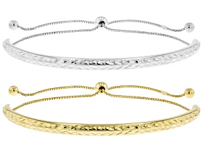 Sterling Silver and 18K Yellow Gold Over Sterling Silver Set of 2 Bolo Diamond-Cut Bracelets