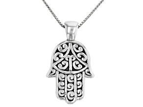 Sterling Silver Oxidized Hamsa Hand Pendant with 18 Inch Box Chain