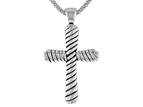 Sterling Silver Oxidized Cross Pendant with 18 Inch Popcorn Chain