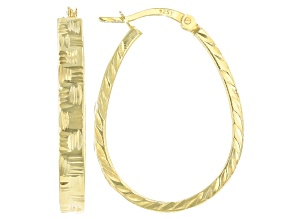 18K Yellow Gold Over Sterling Silver Diamond-Cut Oval Hoop Earrings