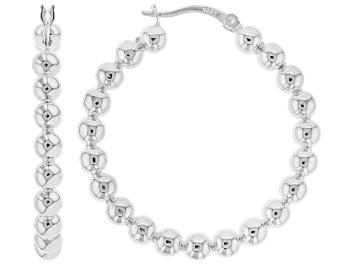 Picture of Sterling Silver 35MM Beaded Hoop Earrings