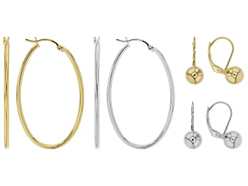 Picture of Sterling Silver and 18K Yellow Gold Over Sterling Silver Set of 4 Bead and Oval Hoop Earrings