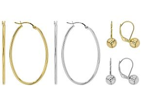 Sterling Silver and 18K Yellow Gold Over Sterling Silver Set of 4 Bead and Oval Hoop Earrings