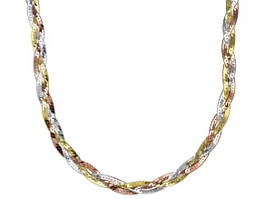 18K Gold Over Sterling Silver Tri-Color Braided Herringbone 18 Inch Necklace