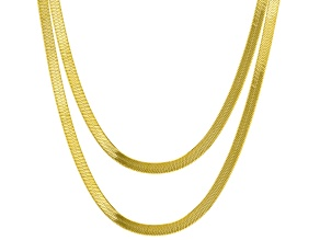 18K Yellow Gold Over Sterling Silver Set of Two Herringbone Chain 18 Inch and 20 Inch Necklaces