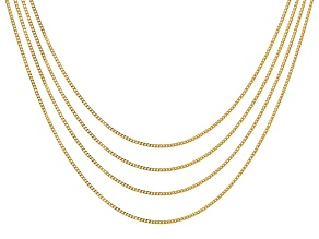 18K Yellow Gold Over Sterling Silver Set of 4 1MM Curb Chain 18 Inch Necklaces