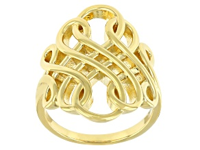 18K Yellow Gold Over Sterling Silver Swirl Ring