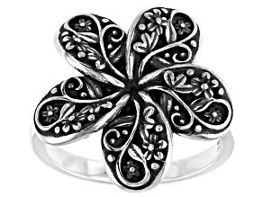 Sterling Silver Oxidized Flower Ring