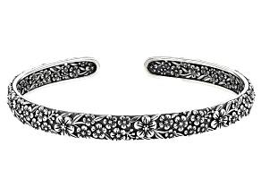 Sterling Silver Oxidized Flower Cuff 7 Inch Bracelet