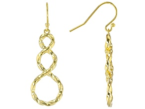 18K Yellow Gold Sterling Silver Infinity Teardrop Earrings
