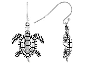 Sterling Silver Oxidized Drop Turtle Earrings