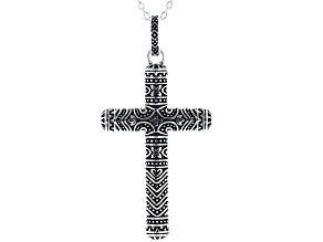Sterling Silver Oxidized Cross Pendant with 17 Inch Cable Chain