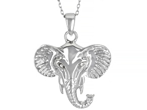 Allyson's Change Maker Collection Rhodium Over Sterling Silver Elephant Pendant with Cable Chain