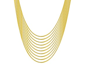 18K Yellow Gold Over Sterling Silver 0.7MM Set of 10 Box 18 Inch Chains