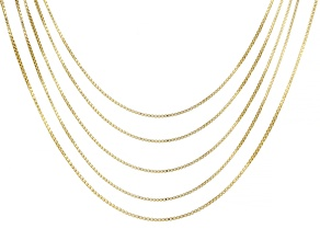 18K Yellow Gold Over Sterling Silver 0.9MM Set of 5 Box 18 Inch Chains