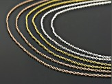 18K Yellow, 18K Rose Gold, and Rhodium Over Sterling Silver Set of 6 Rolo Chains