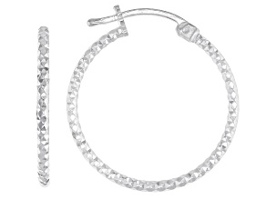 Sterling Silver Diamond-Cut 1.5x20 Tube Hoop Earrings