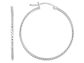 Sterling Silver Diamond-Cut 1.5x30 Tube Hoop Earrings
