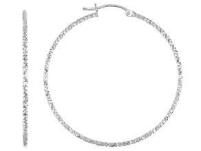Sterling Silver Diamond-Cut 1.5x40 Tube Hoop Earrings