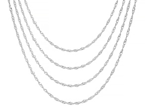 Sterling Silver 1.6MM Diamond-Cut Set of 4 Singapore Chains