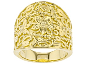 18K Yellow Gold Over Sterling Silver Dome Floral Design Ring