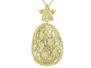 18K Yellow Gold Over Sterling Silver Oval Floral Slide with Cable Chain